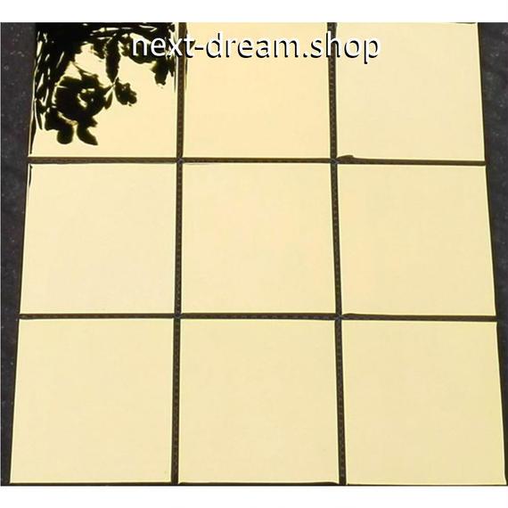 3D壁紙 30×30cm 11枚セット 四角タイル 金 ゴールド DIY リフォーム インテリア 部屋/キッチン/トイレにも h04388