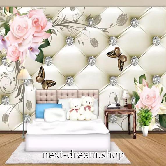 3D 壁紙 1ピース 1㎡ ジュエリー 薔薇 キルティング DIY リフォーム インテリア 部屋 寝室 防湿 防音 h03267