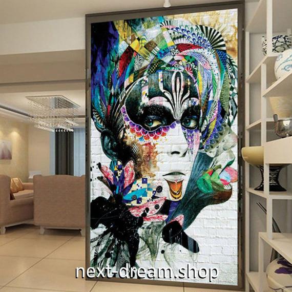 3D 壁紙 玄関用 1ピース 1㎡ 人物画 モダンアート インテリア 装飾 部屋 耐水 防湿 耐衝撃 騒音吸収 h02744