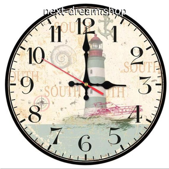 新品送料込★ 時計 壁掛け 木製 クォーツ 灯台 海 ヨーロッパレトロ  DIY お洒落 面白 輸入雑貨 インテリア 高性能  m01539