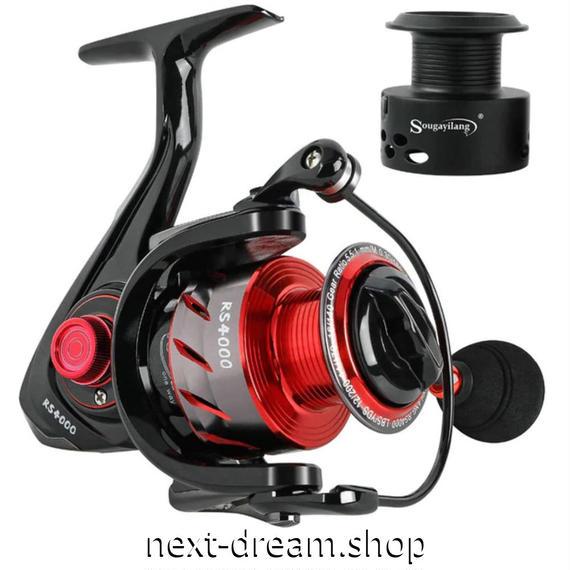 新品 スピニングリール 釣り道具 フィッシング 鯉釣り 黒×メタルレッド 1000 / 2000 / 3000 / 4000 / 5000番 m02022