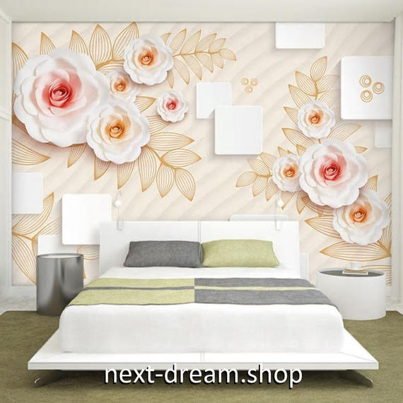 3D 壁紙 1ピース 1㎡ モダン ホワイトローズ DIY リフォーム インテリア 部屋 寝室 防湿 防音 h03264