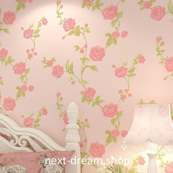 3D 壁紙 53×1000㎝ レトロ ローズ 薔薇 DIY 不織布 カビ対策 防湿 防水 吸音 インテリア 寝室 リビング h02042