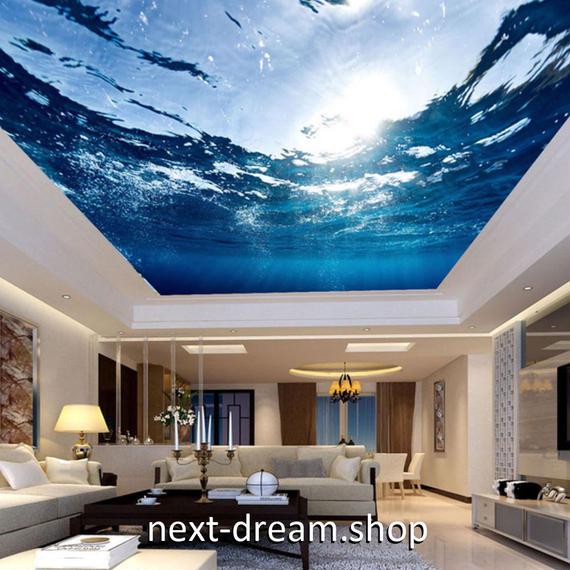 3D 壁紙 1ピース 1㎡ 自然風景 水中 反射する太陽 天井用 インテリア 装飾 寝室 リビング 耐水 防湿 h02665