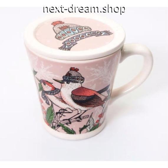 新品送料込 マグカップ 蓋付 セラミック 食器 クリスマス 鳥 北欧スタイル 海外 高級 おしゃれ お茶 コーヒー ココア 00832