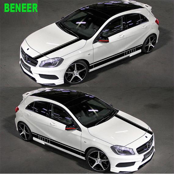 ベンツ ステッカー ボディ サイド 4点セット Mercedes benz ボンネット リア h00530