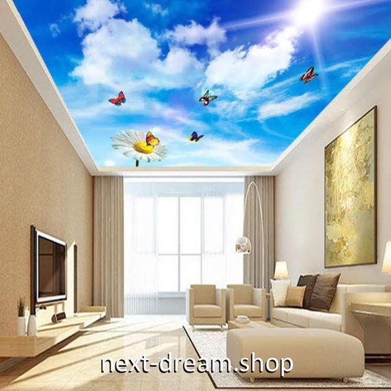 3D 壁紙 1ピース 1㎡ 自然風景 青空 太陽 蝶々 天井用 インテリア 装飾 寝室 リビング 耐水 防湿 h02663