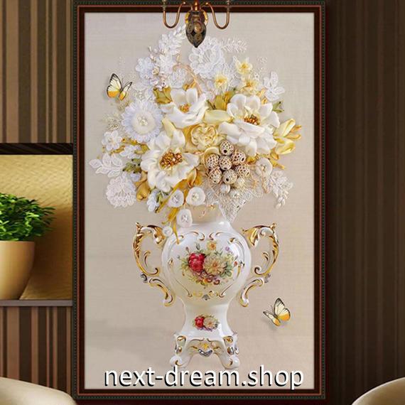 3D 壁紙 玄関用 1ピース 1㎡ 花束 レース 蝶々 花瓶 インテリア 装飾 部屋 耐水 防湿 耐衝撃 騒音吸収 h02725