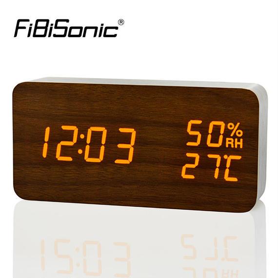 Fibisonic LED めざまし時計 大音量アラーム カレンダー 温度 湿度 デジタル置き時計 音声感知 m00004