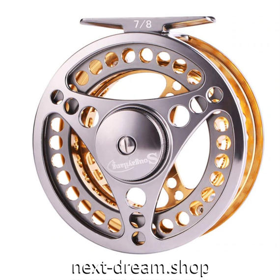 新品 フライリール 釣り道具 お洒落 フィッシング スプール ドラグ  シルバー×ゴールド m01985
