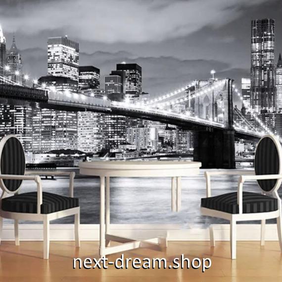 3D 壁紙 1ピース 1㎡ シティ風景 夜景 モノクロ DIY リフォーム インテリア 部屋 寝室 防湿 防音 h03322