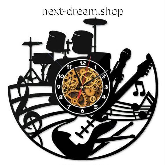 新品送料込★ 時計 壁掛け 音楽 音符 ドラム ギター バンド アメリカン  DIY お洒落 面白 輸入雑貨 インテリア 高性能  m01525