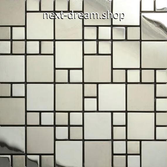 3D壁紙 30×30cm 11枚セット ステンレスタイル 銀 メタル DIY リフォーム インテリア 部屋/キッチン/トイレにも h04369