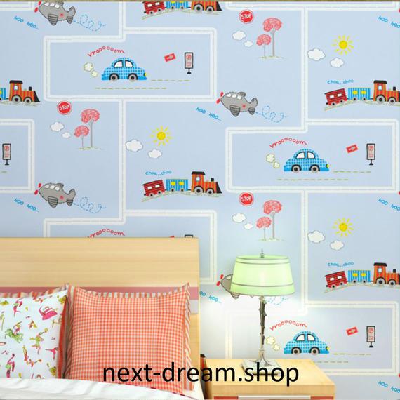 3D 壁紙 53×1000㎝ 子供部屋 車 乗り物 DIY 不織布 カビ対策 防湿 防水 吸音 インテリア 寝室 リビング h02047