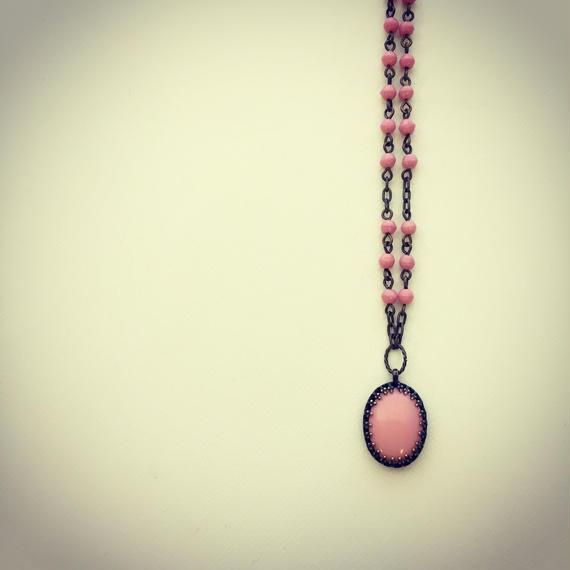 ヴィンテージオーバル ショートネックレス こっくりピンク