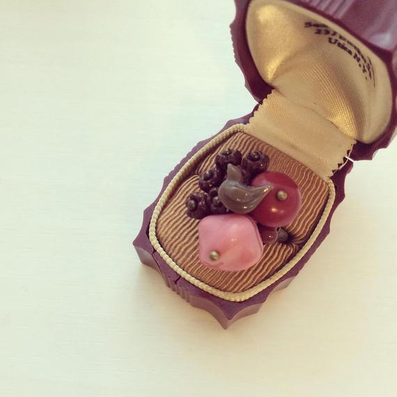 一点もの イチゴチョコシリーズ チョコカラー小鳥付きリング