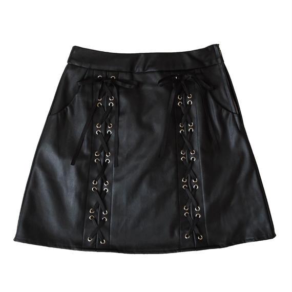 183SK0875 【再入荷】レースアップレザースカート