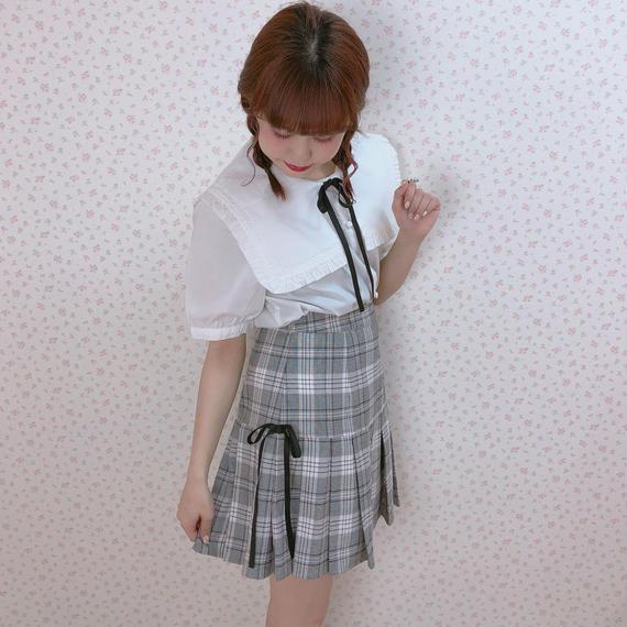 182SK46 サイドリボンプリーツスカート