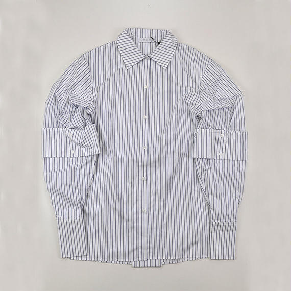 DELADA | PUFFY SLEEVE SHIRT | BLUE STRIPE
