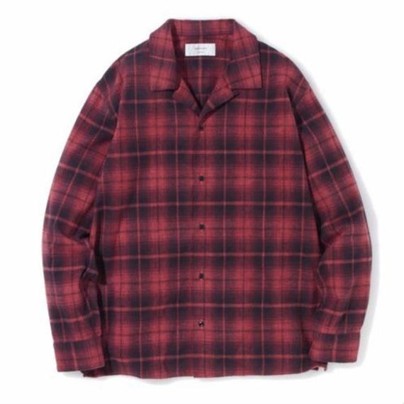 "SANDINISTA ""Open Collar Check Shirt"" (レッド)"