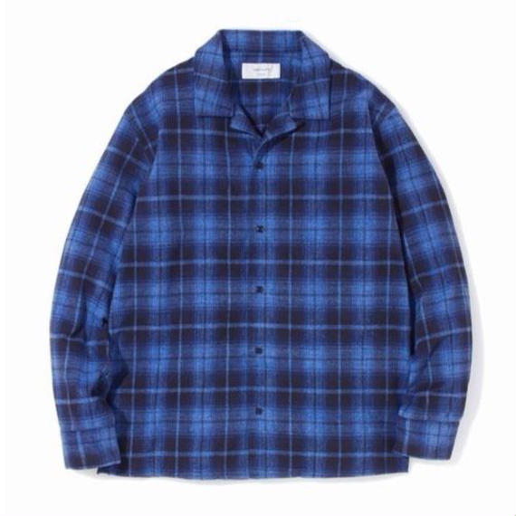 "SANDINISTA ""Open Collar Check Shirt"" (ブルー)"