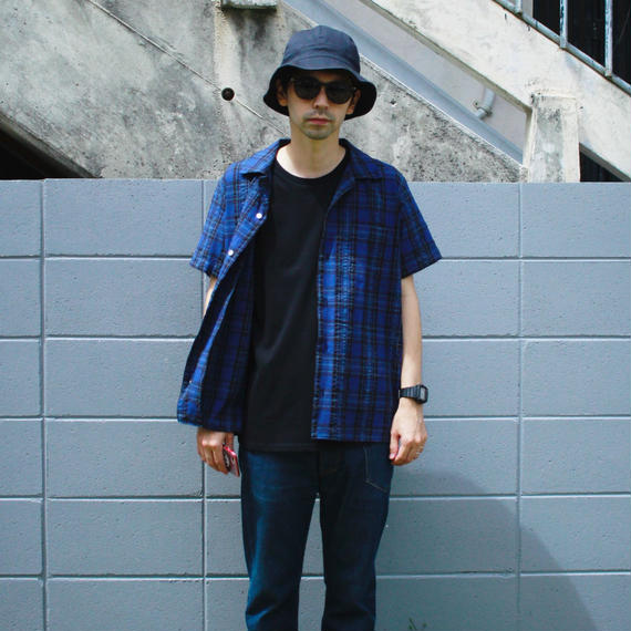 "Sandinista ""Overdyed Madras Check S/S Shirt""(ブルー)"