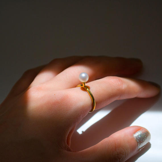 ring [greeting] (white pearl/gold) [受注制作]