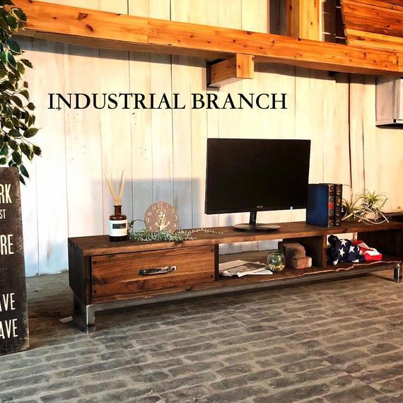 男前な西海岸インダストリアル アンティーク 無垢杉材 I-Branch アンティーク テレビボード ローボード(TV31)