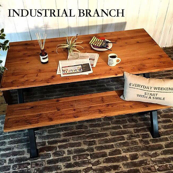 男前なインテリア 西海岸インダストリアル CROSSダイニングテーブル&ベンチセット 無垢材 I-Branch 【送料無料】(T20)