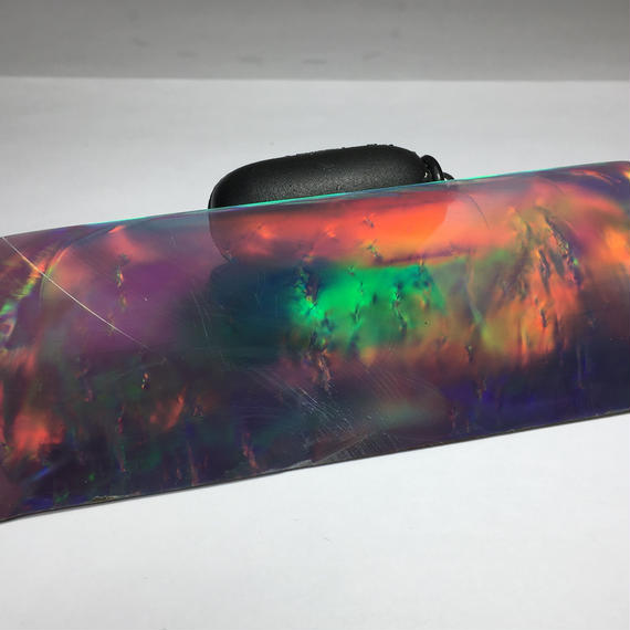 "Hybrid synthetic opal AURORA   ""Red fire black"" No.5  Size : 114mm x 39mm x 1mm"