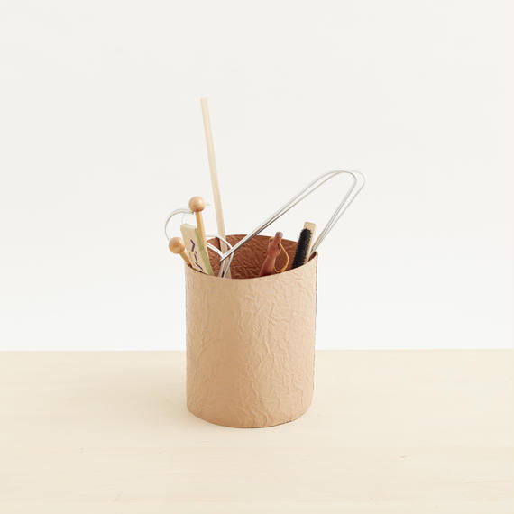 paper trash basket(nude / white)