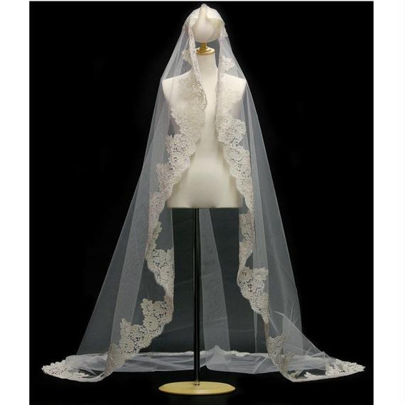 French Wedding Veil V74011.200OVA250  ECRU