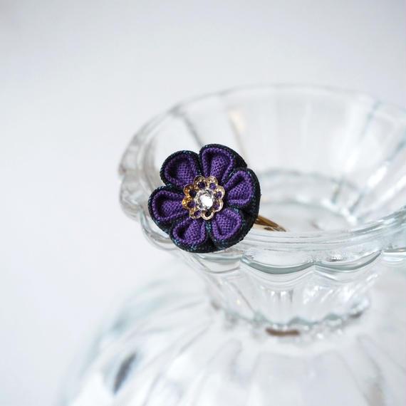 大島紬の紫花心リング