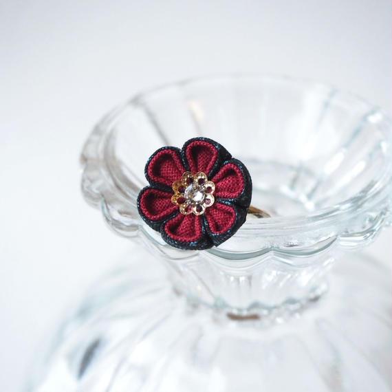 大島紬の紅花心リング