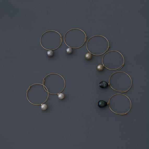 【earrings】circle baroque pearl