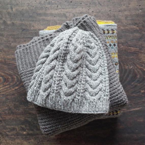 ケーブルとレースのニット帽 / Herkkä[ヘルッカ]/ グレー