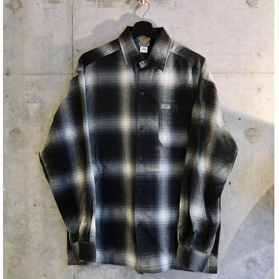 Cal Top Ombre Check L/S Shirt Black