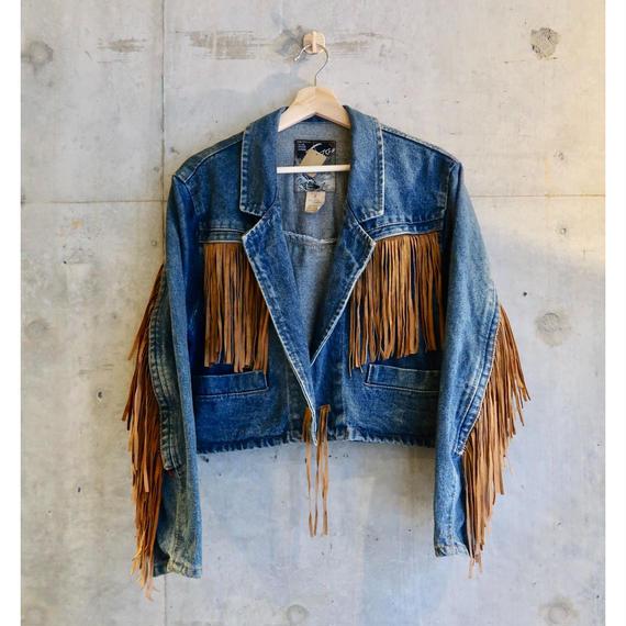 Vintage Made in France Fringe Denim Jacket