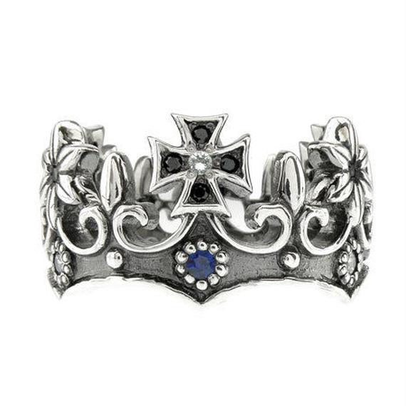 [Artemis Classic-ring]フローラルクラウンリングBK