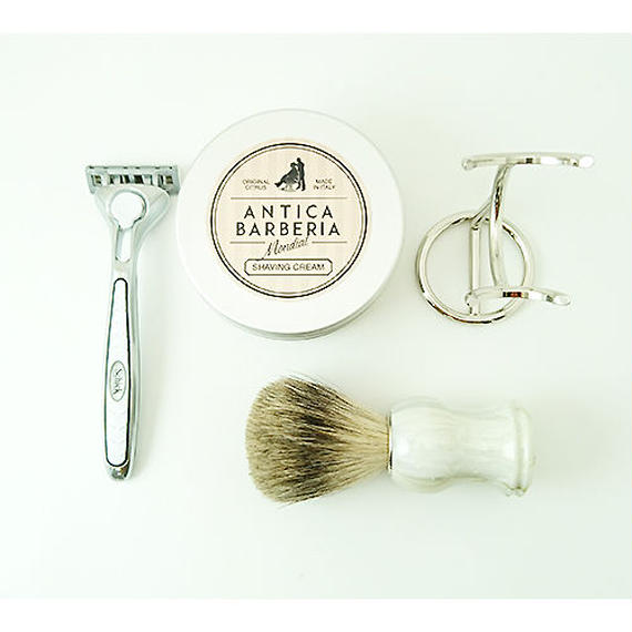 ANTICA with SCHICK QUATRO SPECIAL KIT(WHITE LIMITED) ヒゲブラシスタンド付き