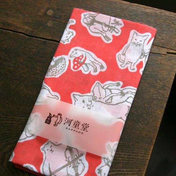 猫カエルてぬぐい(コーラルピンク)