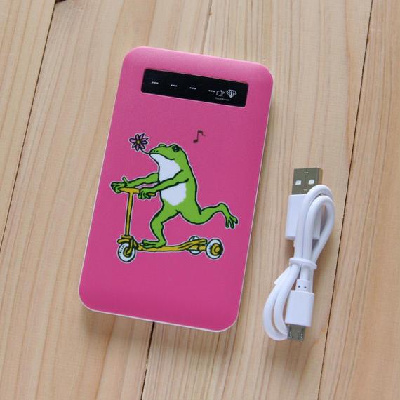 モバイルバッテリー カエルコースター(ピンク)