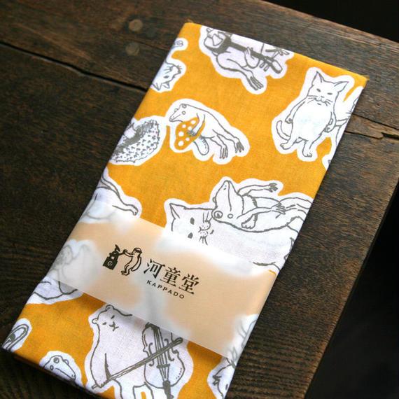 猫カエルてぬぐい(マンゴーイエロー)