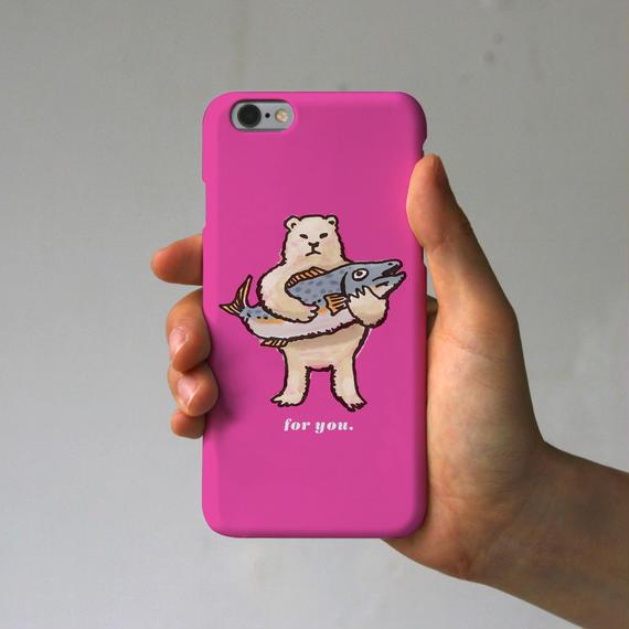 スマホケース シロクマのプレゼント(ピンク)