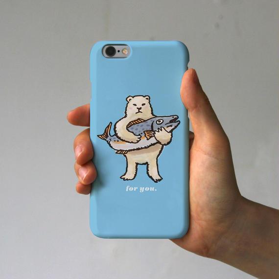 スマホケース シロクマのプレゼント(スカイブルー)
