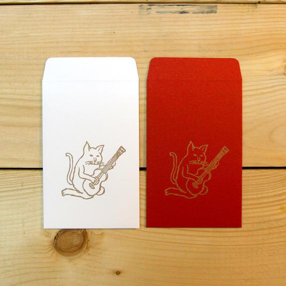 猫がウクレレ ポチ袋