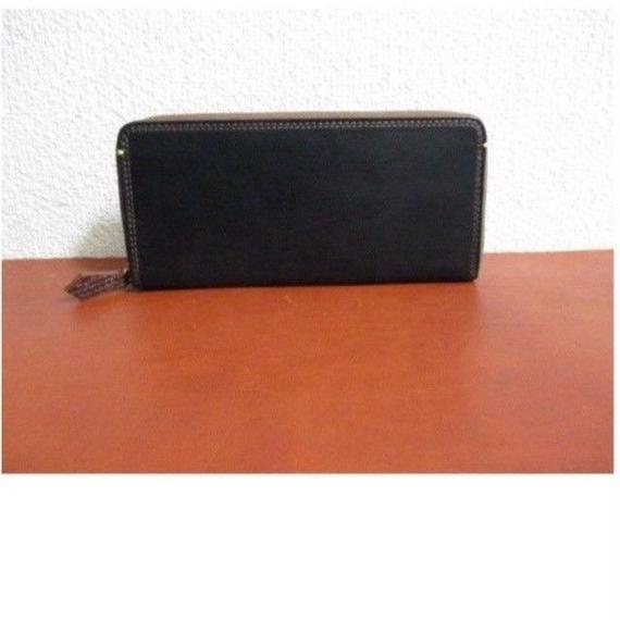 フランス製 最高級カーフ(仔牛革)シリーズ 長財布Bタイプ ブラック 内装カラーコンビ
