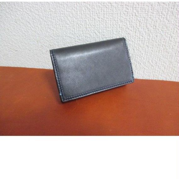 フランス製 最高級カーフ(仔牛革)シリーズ 名刺入れ ブラック 内装カラーコンビ