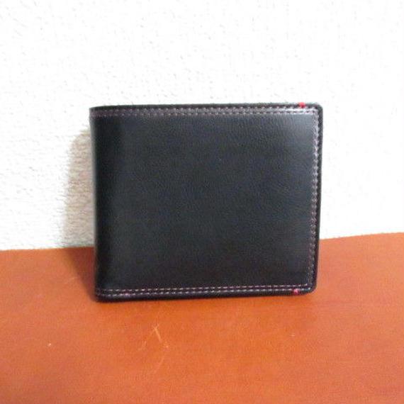 フランス製 最高級カーフ(仔牛革)シリーズ 二つ折り財布 ブラック 内装カラーコンビ