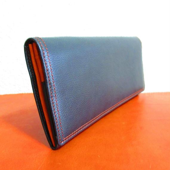 フランス製 最高級カーフ(仔牛革)シリーズ 長折り財布 ブラック 内装カラーコンビ